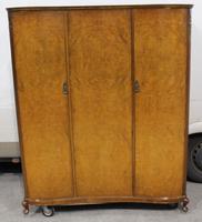 1960s Nice Shaped 3 Door Burr Walnut Wardrobe