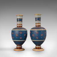 Pair of Antique Decorative Vases, German, Ceramic, Villeroy & Boch, Victorian (6 of 12)