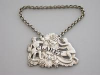 George III Cast Silver Two Putti with Jug & Bottle Wine Label 'Claret' - London, 1809 (2 of 6)