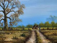 Original 1960s Vintage Antique Country Equestrian Farming Landscape Oil Painting (4 of 11)