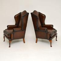 Pair of Antique Georgian Style Leather Wing Back Armchairs (6 of 8)