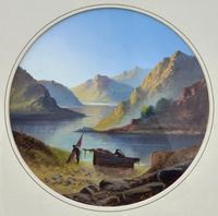Tranquil 19th Century Gouache Mountain Lakeside Scene (2 of 4)