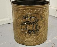 Embossed Brass Coal Bucket with a Tea Clipper Sea Scene (2 of 5)