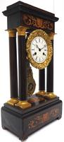 Antique Satinwood Inlaid Mantel Clock Rosewood French Striking Portico Mantle Clock (8 of 11)