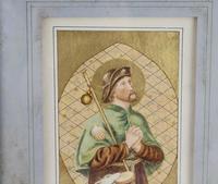 Antique Illuminated Watercolour of Saint Rochus (3 of 7)