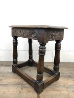 Antique Oak Joint Stool with Carved Detail (8 of 13)