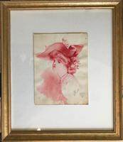 Original Watercolour of an Edwardian Lady in a fine hat. Signed A. Robb 1910. Framed (2 of 2)
