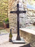 French Bronze Altar Cross Crucifix on Slate Stone Base (9 of 9)