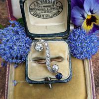 Antique Edwardian 15ct Gold Diamond & Sapphire Upfinger Dress Ring (3 of 12)