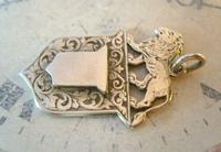 Antique Pocket Watch Chain Fob 1890s Victorian Silver Nickel Lion & Shield Fob (3 of 9)