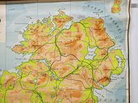 """Large University Chart """"Physical Map of Ireland"""" by Bacon (3 of 4)"""