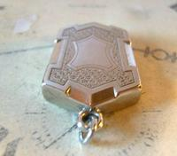 Antique Pocket Watch Chain Fob 1890s Victorian Large Silver Nickel Puffy Shield Fob (5 of 7)