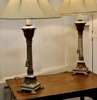 Pair of Shabby Crackle Painted Corinthian Column Lamps (4 of 12)