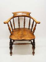 Victorian Smokers Bow or Captains Chair, Elm / Beech - Large Seat, Wide Arms (4 of 13)