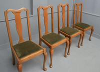 Set of Four 1920s Queen Anne Style Walnut Dining Chairs (10 of 16)