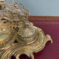Superb Quality Antique Brass Inkwell Letter Holder Desk Set (4 of 5)