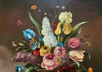Striking Early 1900s Antique Large Floral Display Oil on Canvas Painting (6 of 12)