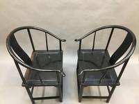 Pair Chinese ebonised horseshoe chairs (4 of 11)