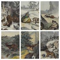 6 Framed Animal Coloured Pictures Plates C1877 Sketches From Nature - N Europe & Lapland (11 of 11)