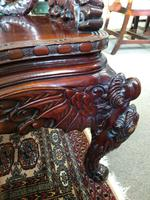 Antique Chinese Qing Dynasty Rosewood Throne Chair (6 of 10)