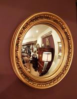 Antique Edwardian Convex Gilt Wall Mirror (7 of 7)