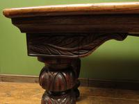 Antique Victorian Gothic Oak & Mahogany Dining or Hall Table Heavily Carved Legs (4 of 13)