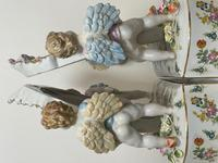 Pair of Small Dresden Victorian Style Porcelain Cherub Table Mirrors (34 of 60)