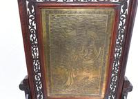 Antique Chinese Screen Hardwood Brass Plaque Circa 1890 (3 of 15)