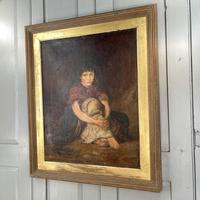 Antique Victorian Oil Painting Portrait of Girl in Red Shawl (8 of 10)