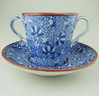 Pearlware Pottery Blue & White Transferware Loving Cup & Saucer c.1810 (2 of 8)