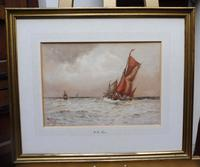 Watercolour Seascape Off Maplin Sands Listed Artist William Henry Pearson (3 of 10)
