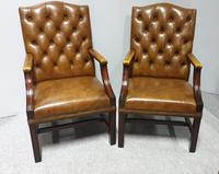Pair of Leather Library Chairs (2 of 10)