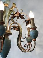 Large Vintage French 6 Arm Polychrome Toleware Ceiling Light Chandelier (6 of 16)