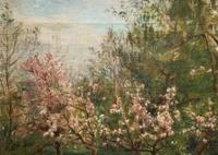 Superb Early 1900s Spring Blossom Riverscape Impressionist Oil Painting (8 of 13)