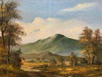 Large Early 20th Century Antique English Autumn Countryside Landscape Oil Painting (4 of 11)