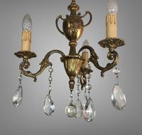 Gilt Bronze Chandelier 3 Arm Ceiling Light with Crystal Droplets (4 of 8)