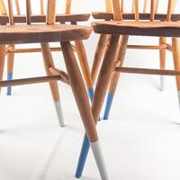 Pair of Ercol Windsor Chairs with Blue Legs (7 of 7)