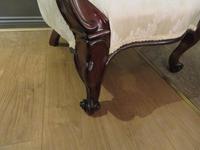 Victorian Walnut Armchair upholstered Cream Brocade (2 of 11)
