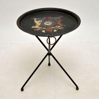 Antique French Enamelled Tole Folding Side Table (3 of 8)