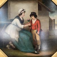 Antique Georgian oil painting study of mother and son at The Old Manor, Abbots Morton, Worcs (7 of 10)