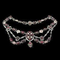 Antique Cabochon Garnet Emerald Pearl and Enamel Silver Swag Collar Necklace