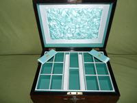 Quality Inlaid Burr Walnut Jewellery Box + Tray. c1875. (7 of 12)