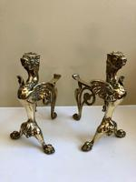 Pair of Vintage Brass Fire Dogs Winged Lions (9 of 10)