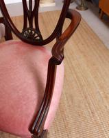 6 Dining Chairs Hepplewhite Mahogany Leather 19th Century (7 of 15)