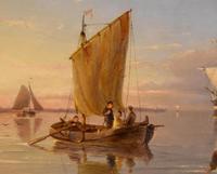 """Oil painting by Pieter Cornelis Dommersen """"Hoorn on the Juiderzee"""" (5 of 6)"""