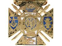 0.29ct Diamond, 0.20ct Ruby & Enamel, 12ct Yellow Gold Masonic Pendant / Watch Fob - Antique c.1900 (10 of 15)