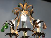Vintage French Gilt Toleware & Murano Style Chandelier (10 of 13)