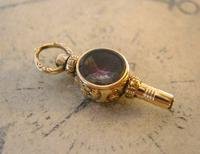 Goergian Pocket Watch Chain Fob 1830s Antique 10ct Gold Filled Stone Set Fob (2 of 9)