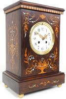 Incredible Rosewood Cased Mantel Clock with Multi Wood & Mother of Pearl Inlay 8-day Striking Clock (11 of 12)