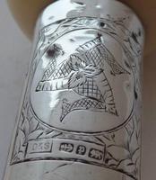 Victorian Walking Stick Cane Silver Collar Malacca Shaft Tagua Nut Isle of Man (6 of 10)